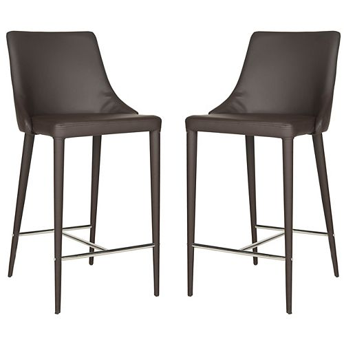 Summerset 37.4 in.  Brown/Chrome Counter Stool (Set of 2)