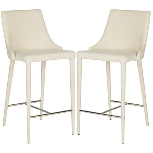 Summerset 37.4 in. Beige/Chrome Counter Stool (Set of 2)