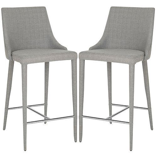 Summerset 37.4 in. Gray/Chrome Counter Stool (Set of 2)