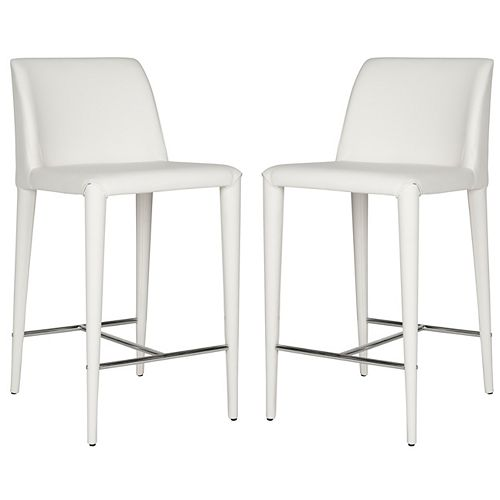 Garretson 36.2 in. White /Chrome Counter Stool (Set of 2)