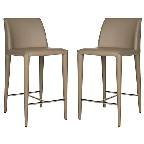 Safavieh Garretson 36.2 in. Taupe/Chrome Counter Stool (Set of 2)