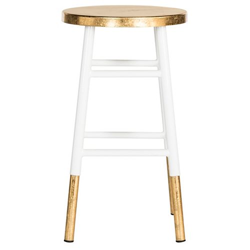 Emery 24 in. White/Gold Counter Stool