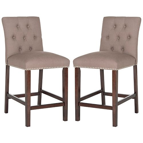 Safavieh Norah 40 in. Dark Taupe/Espresso Counter Stool (Set of 2)