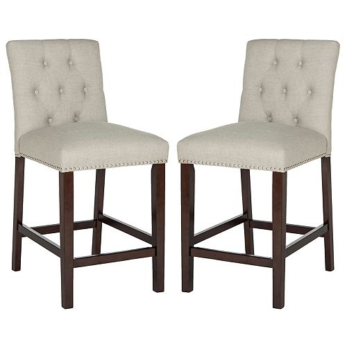 Norah 40 in. Light Gray/Espresso Counter Stool (Set of 2)