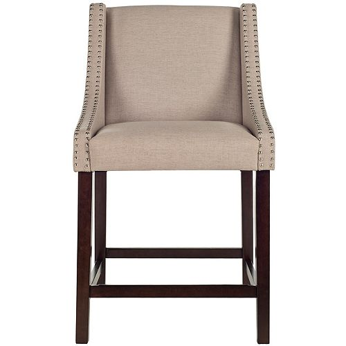 Safavieh Dylan 39.5 in. Taupe/Espresso Counter Stool