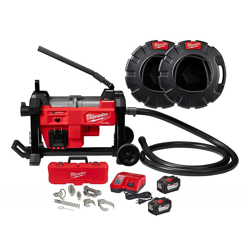 Milwaukee Tool M18 FUEL Brushless Cordless Sewer Sectional Machine Kit with Cables Accessories Batteries & Charger