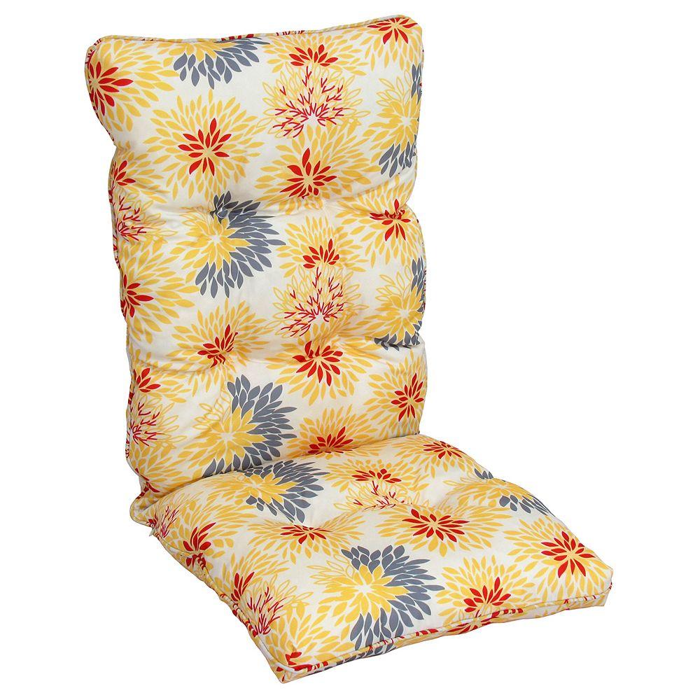 Bozanto Inc. Coussin de dossier haut fleuri jaune