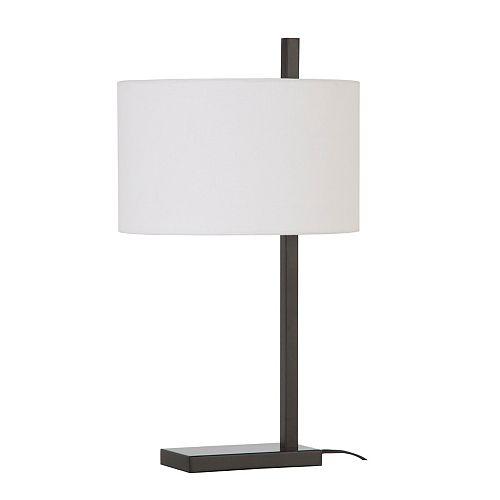 Lampe de table Oxford en métal avec abat-jour blanc