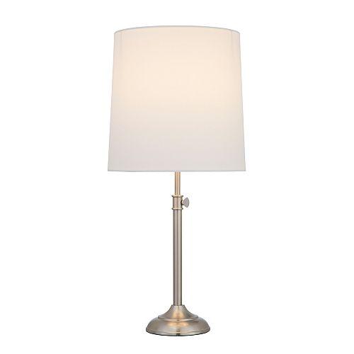 Lampe de table Silvana en métal avec abat-jour blanc