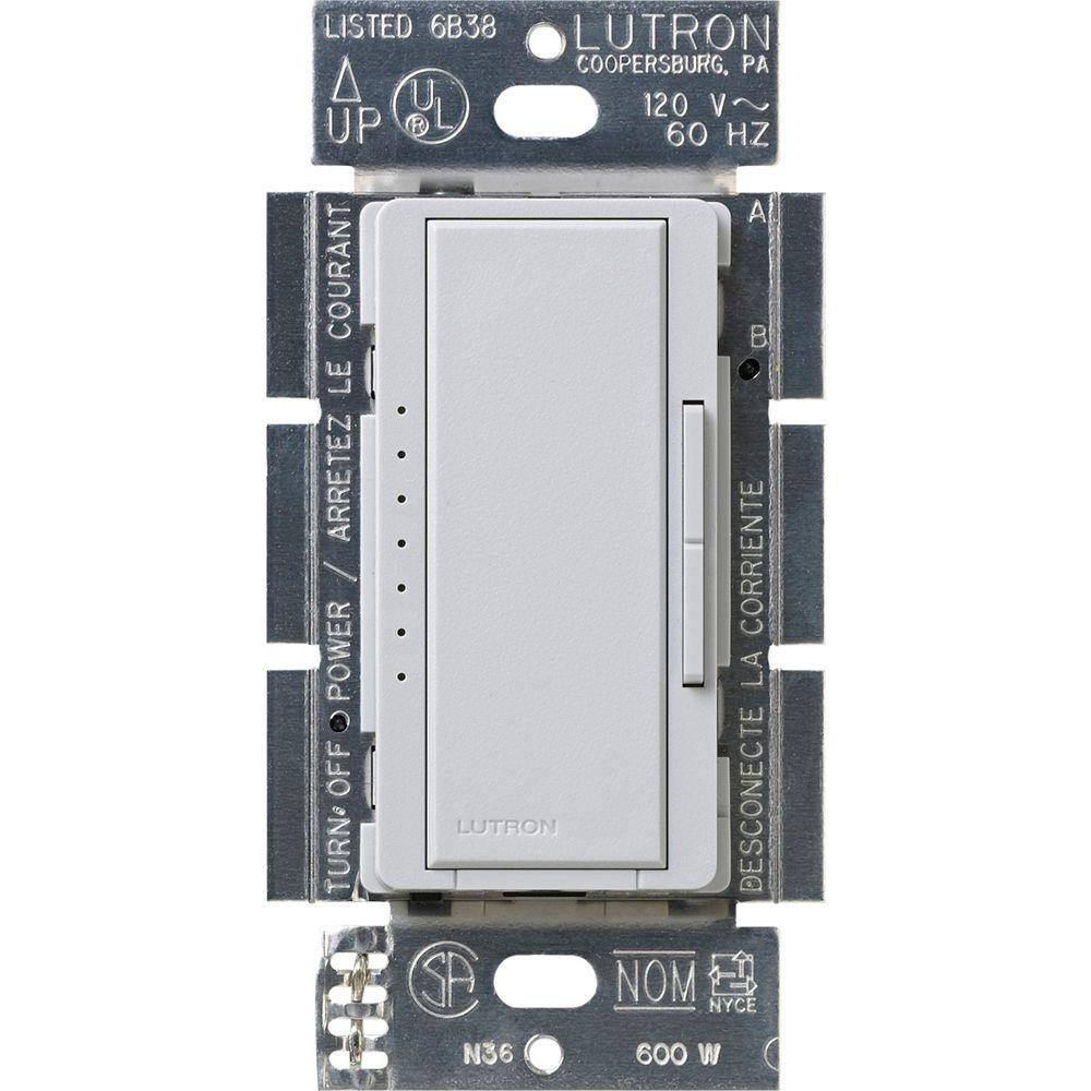 Lutron Gradateur Maestro LED+ pour ampoules à DEL/halo/incand, unipolaire/3 voies, palladium