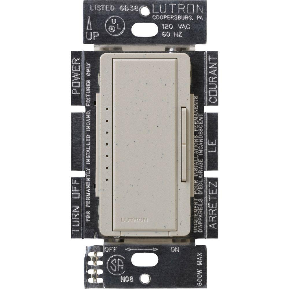 Lutron Gradateur Maestro LED+ pour ampoules à DEL/halo/incand, unipolaire/3 voies, stone