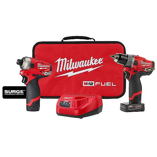 M12 FUEL 12V Lithium-Ion Brushless Cordless Surge Impact & Drill Combo Kit (2-Tool) w/ 2 Batteries