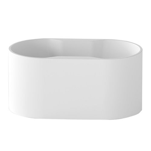 A&E Bath and Shower Palmer  4.6-ft. Acrylic Freestanding Oval Bathtub with Reversible Drain in White