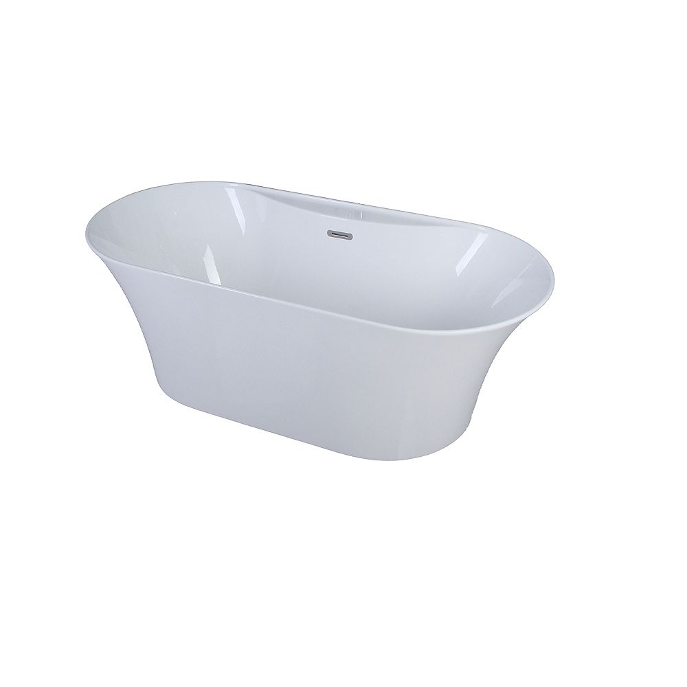 A&E Bath and Shower Cecile 5.6-ft. Acrylic Freestanding Oval Bathtub with Center Drain in White