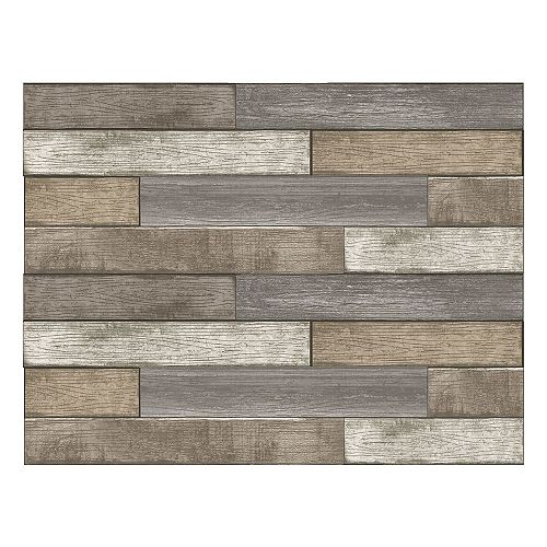 Brown Wood Planks Wall Art Kit
