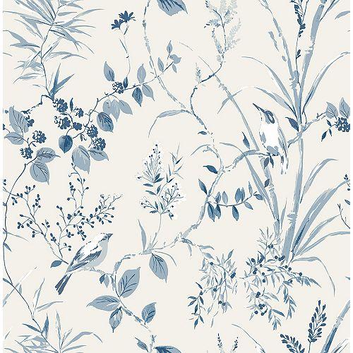 Papier Peint Botanique Bleu Mariko