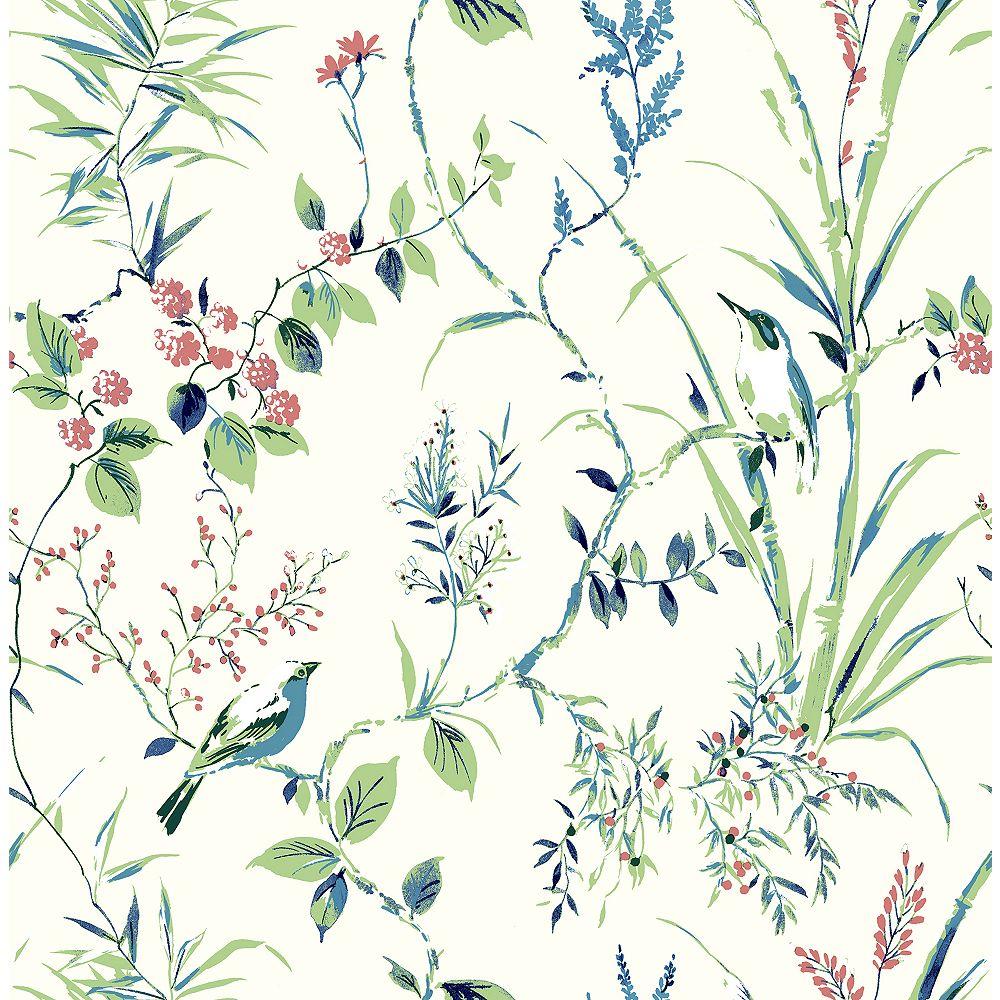 Brewster Home Fashions Papier Peint Botanique Mariko vert