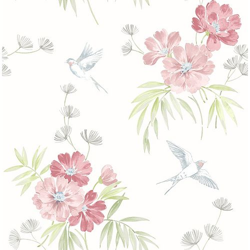Deja Pêche florale Papier Peint
