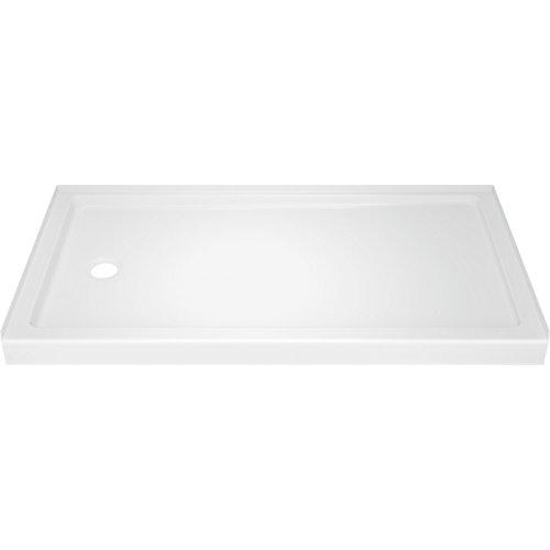 Base de douche Classic 400 32 po x 60 po à seuil simple, drain à gauche en blanc très lustré