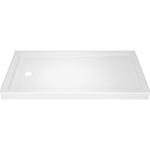 Classic 400 32 in. x 60 in. Single Threshold Left Drain Shower Base in High Gloss White