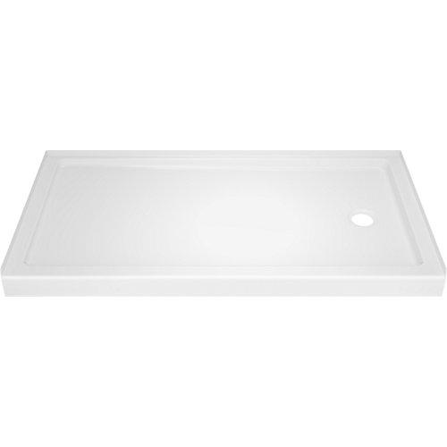Base de douche Classic 400 32 po x 60 po à seuil simple, drain à droite en blanc très lustré