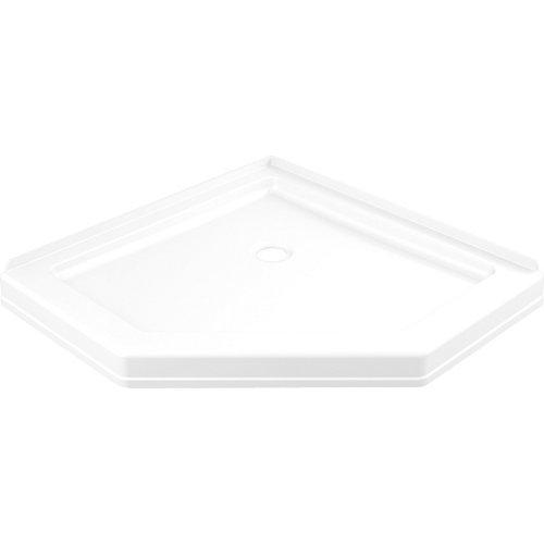 Base de douche Néo-angle 38,25 po x 38,25 po à seuil simple en blanc