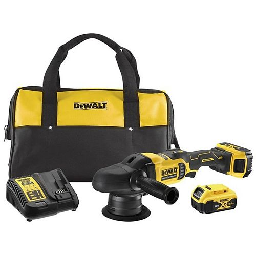Dewalt 20V MAX Lithium-Ion Cordless 5-inch Variable Speed Random Orbit Polisher with (2) 5.0 Ahr Batteries, Charger and Bag