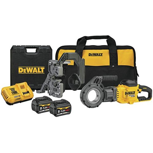 DEWALT FLEXVOLT 60V MAX Lithium-Ion Cordless Pipe Threader Kit with Two Batteries 9 Ah, Charger and Bag