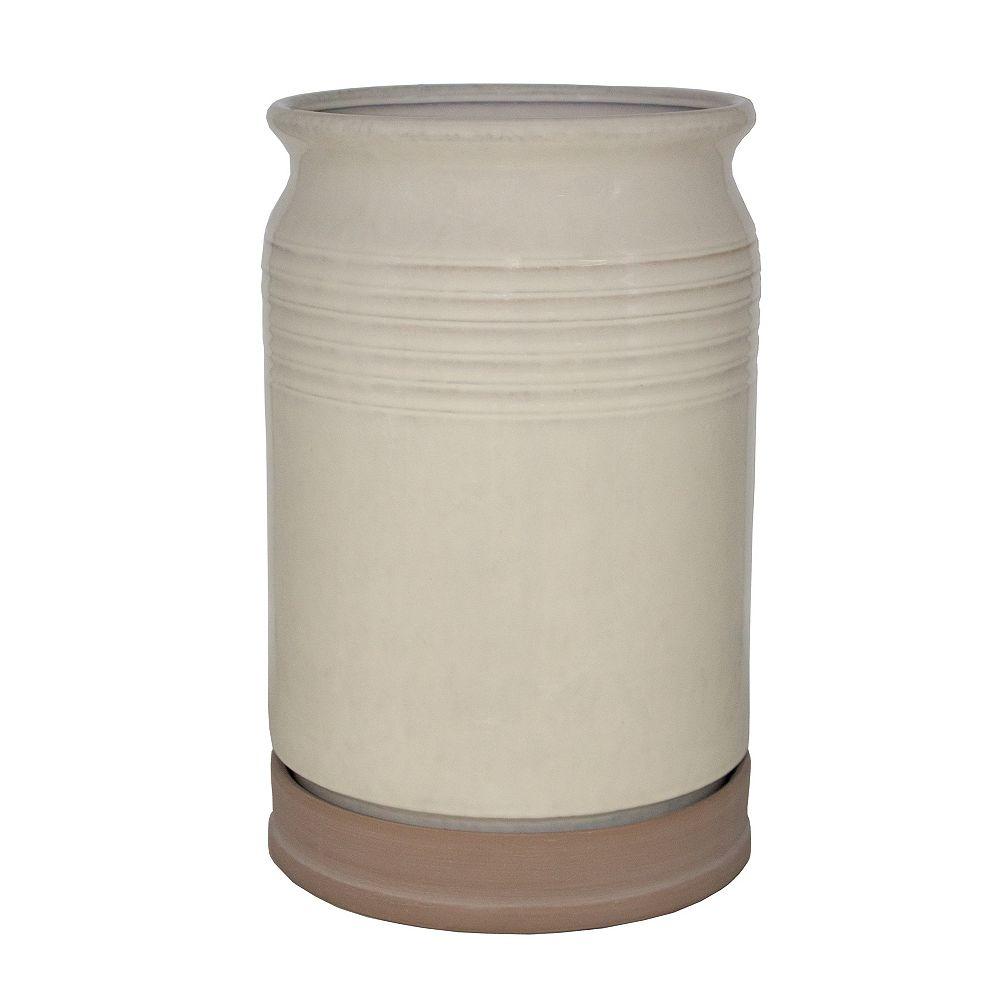 Trendspot Jardinière style pot de lait, 18 po, céramique, blanc