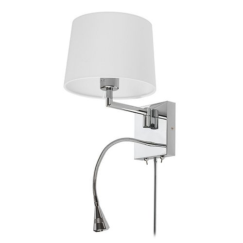 1 Light Swing Arm & 1 Downlight LED Wall Sconce, Polished Chrome Finish with White Shade