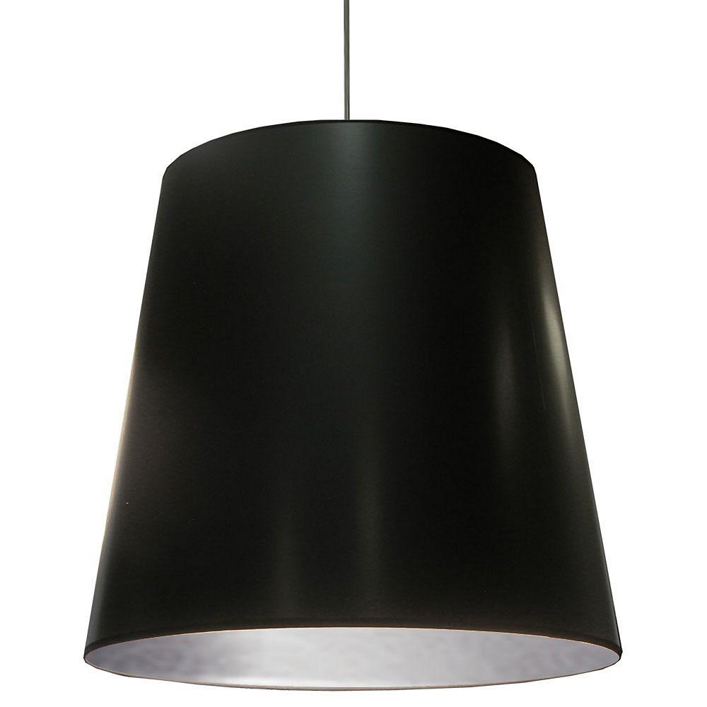 Dainolite Suspension lumineuse surdimensionnée pour tambour avec abat-jour noir sur argent, très grand