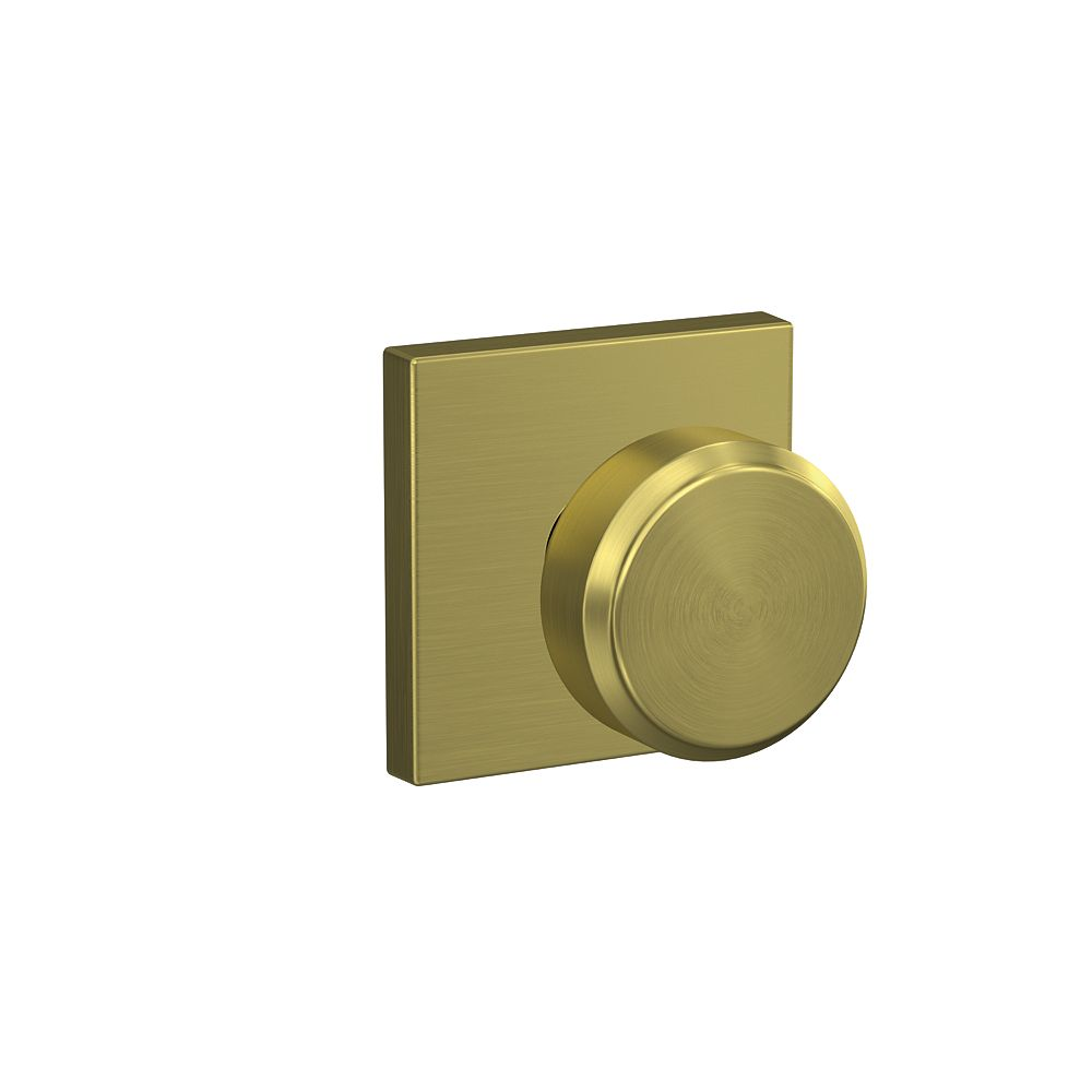 Schlage Bowery Gold Hall/Closet Inactive Non-Locking Passage Door Knob with Collins Trim Rated AAA