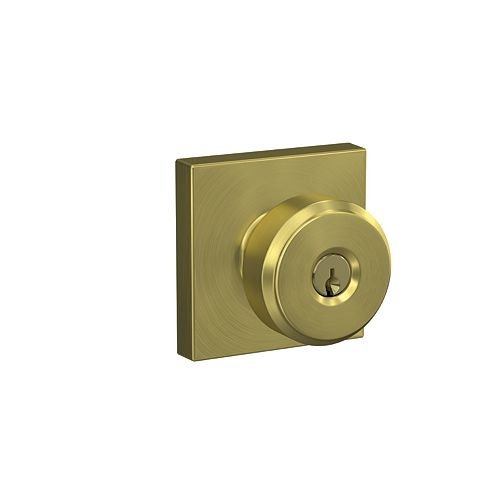 Bowery Gold Keyed Knob with Collins Trim