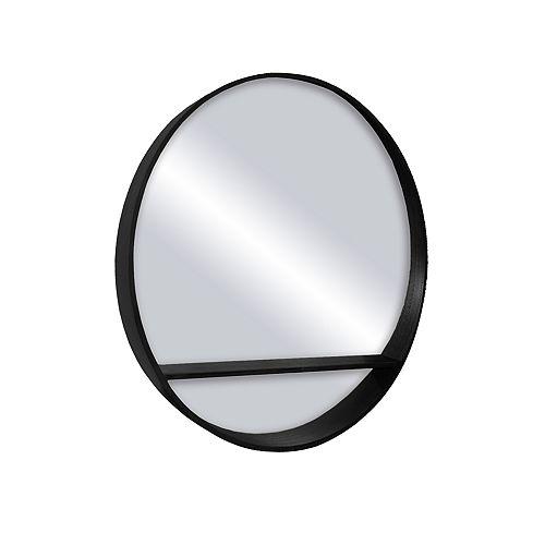 Alex, Round Satin Black Shelf Mirror 32 inch