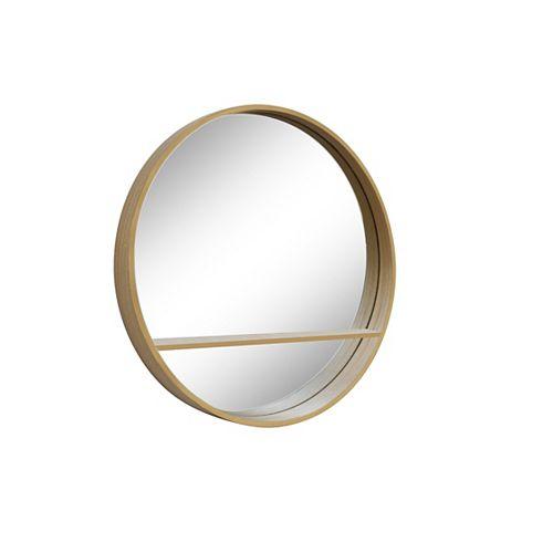 Alex, Round Natural Genuine Wood Shelf Mirror 32 inch