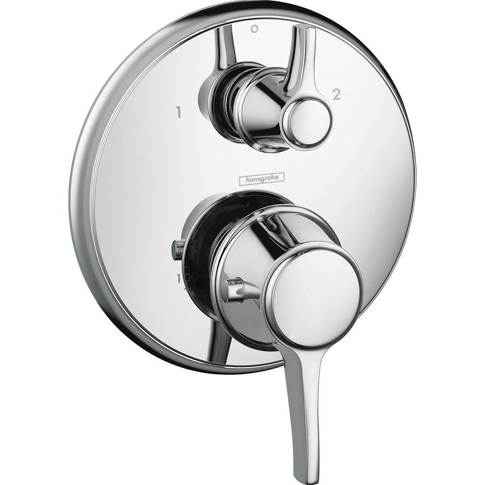 Hansgrohe Ecostat C Kit de garniture de robinet thermostatique à 2 poignées en chrome (robinet vendu séparément)