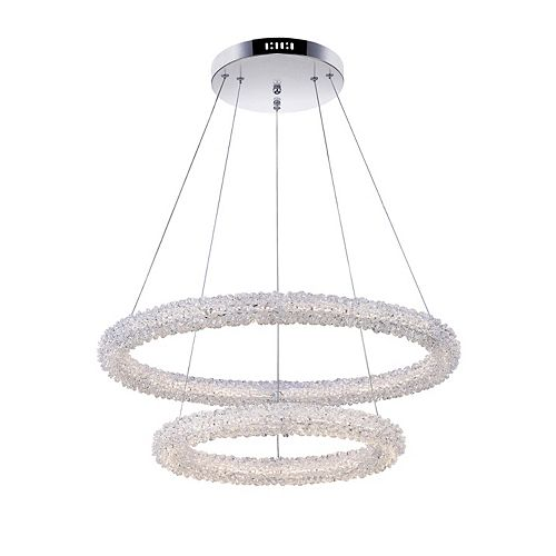 CWI Lighting Arielle 25 inch Double Rings LED Chandelier with Chrome Finish