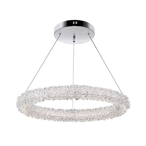 """CWI Lighting Arielle 25"""" LED Single Ring Chandelier with Chrome Finish"""