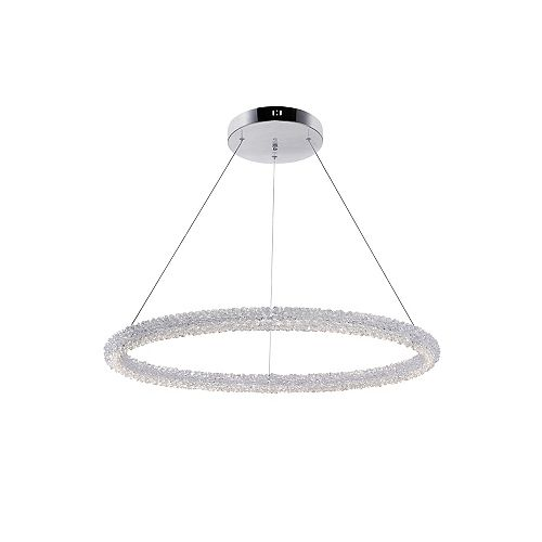 """CWI Lighting Arielle 32"""" Single Ring LED Chandelier with Chrome Finish"""