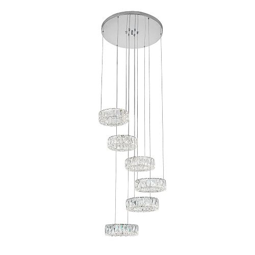 "CWI Lighting Madeline 24"" 6-Rings LED Chandelier with Chrome Finish"