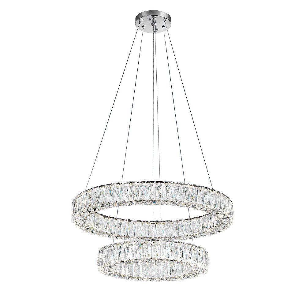 CWI Lighting Madeline 32-inch 2-Bague Lustre Led Avec Finition Chrome