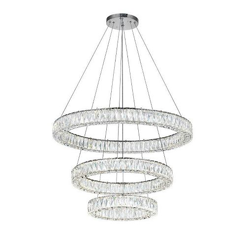 "Madeline 32"" 3-Bague Lustre Led Avec Finition Chrome"