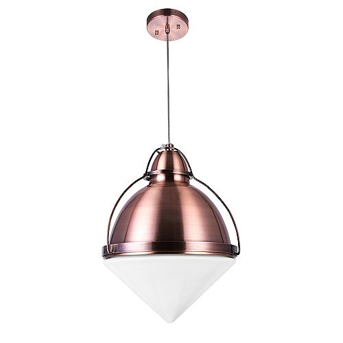 "CWI Lighting Cupola 9"" 1 Light Down Mini Pendant with Copper Finish"