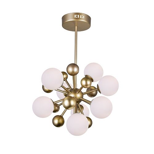 """CWI Lighting Element 16"""" 8 Light Chandelier with Sun Gold Finish"""