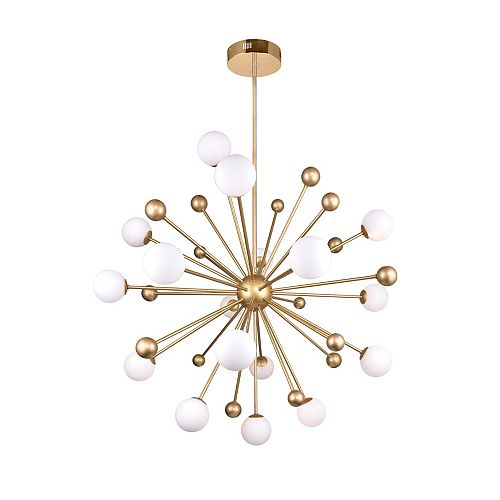 """CWI Lighting Element 39"""" 17 Light Chandelier with Sun Gold Finish"""