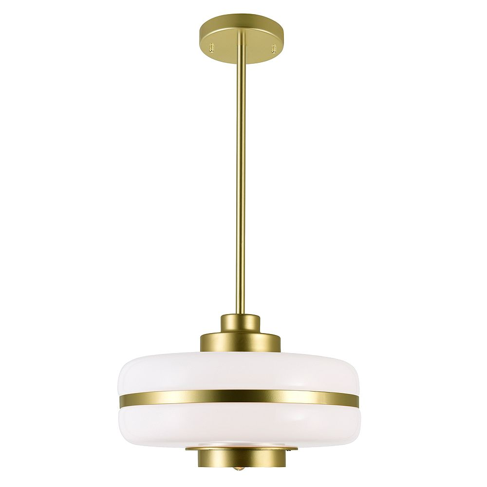 """CWI Lighting Elementary 12"""" 1 Pendentif Lumière Avec Finition Perle Or"""