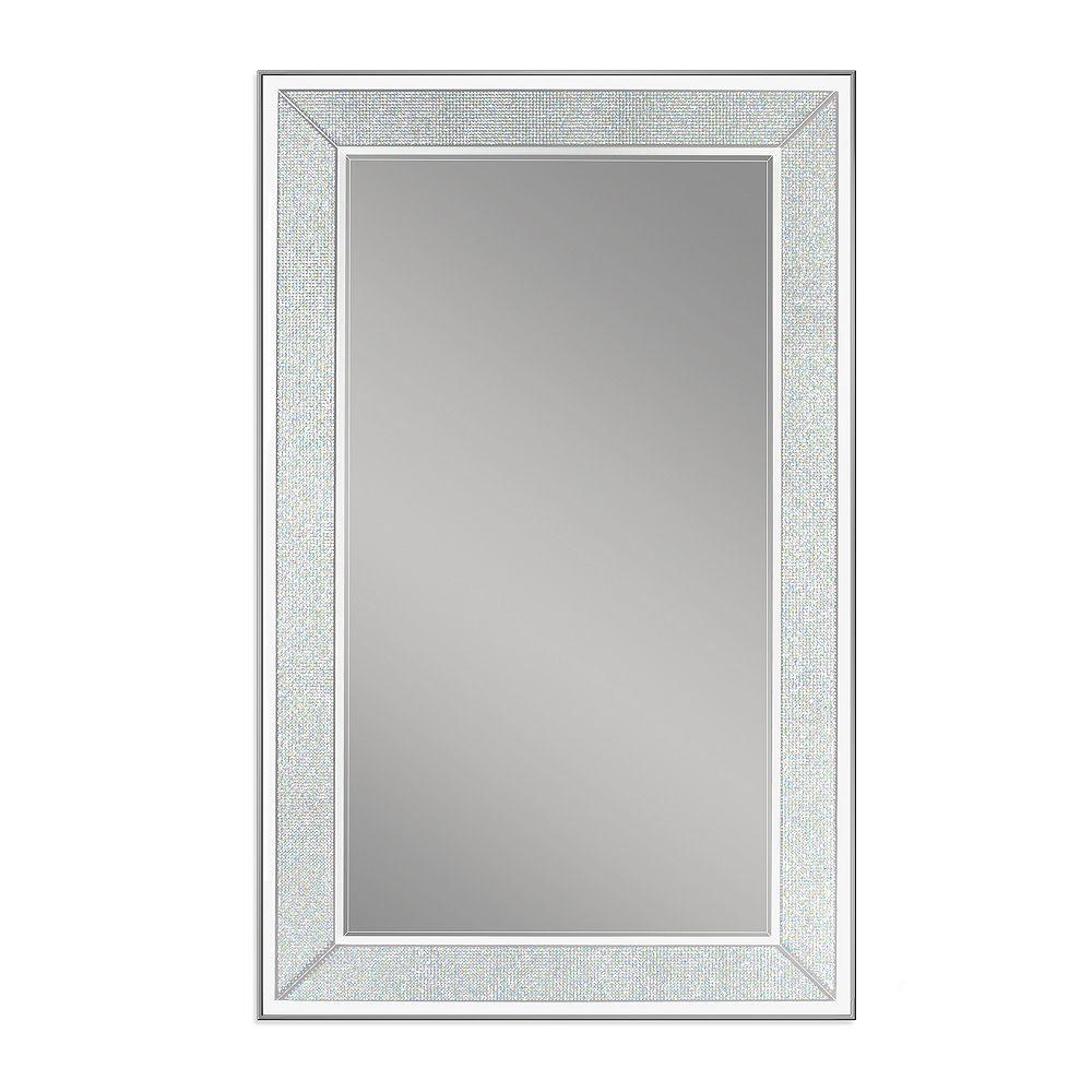 Deco Mirror Miroir mural avec pavé au fini argent, 20 po x 32 po
