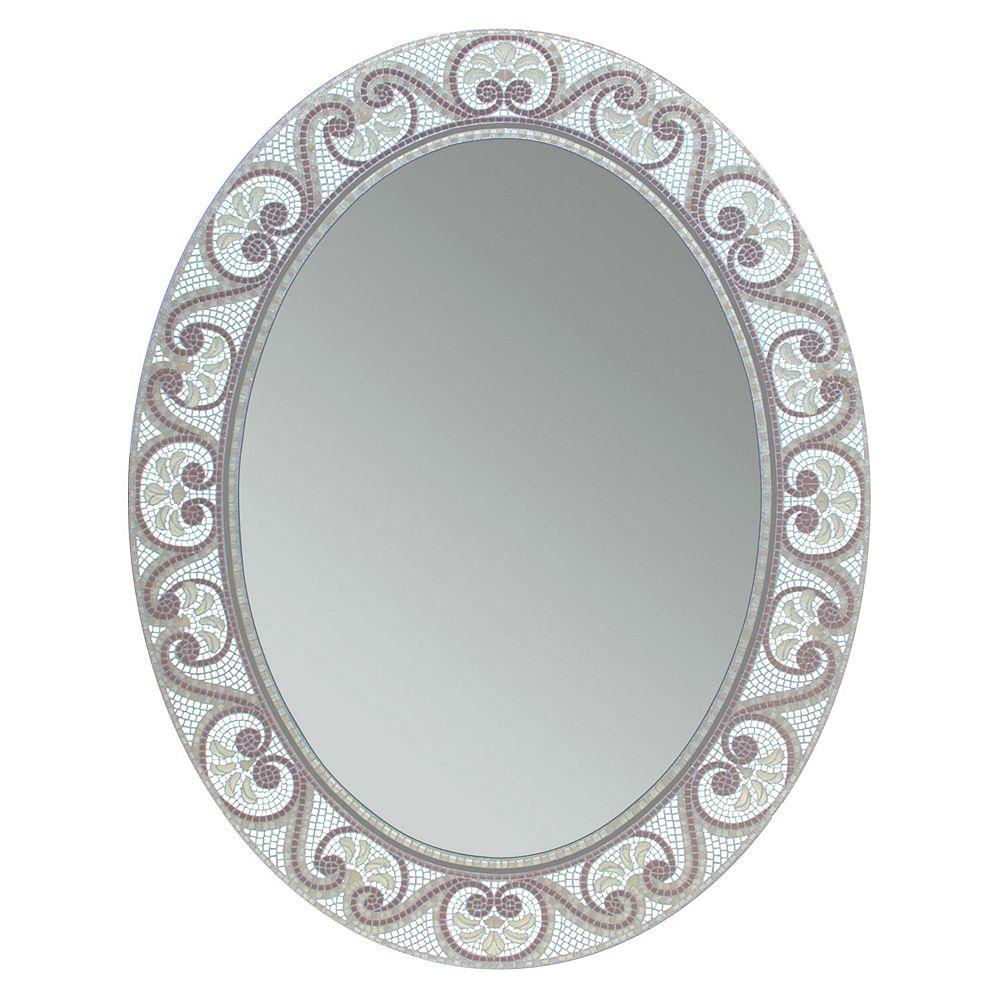 Deco Mirror Miroir mural ovale avec mosaïque de teintes de couleurs terreuses, 23 po x 29 po