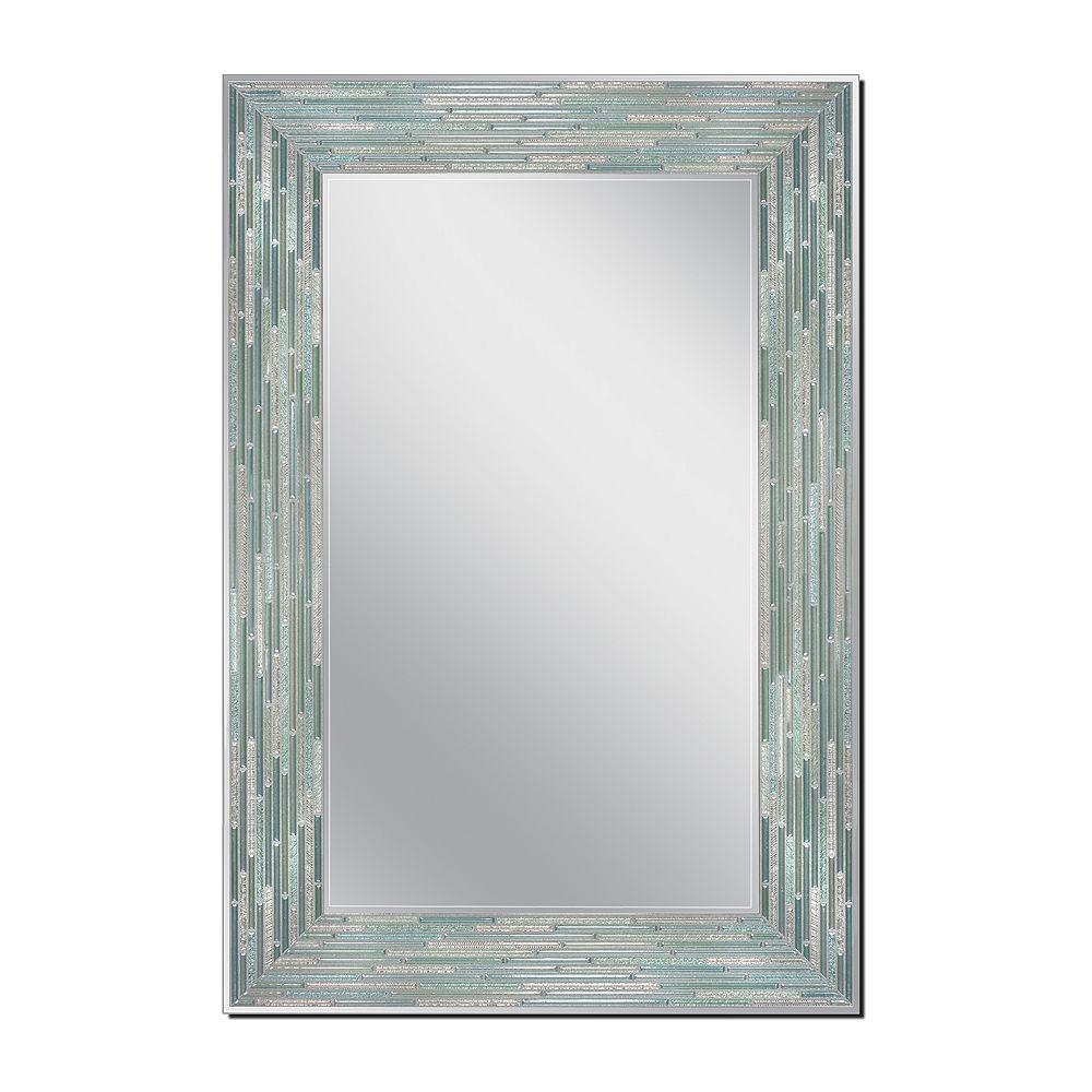 Deco Mirror Miroir mural avec cannelures de verre poli, 24 po x 36 po