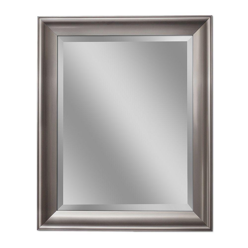 Deco Mirror Miroir mural transitionnel au fini nickel brossé, 28 po x 34 po
